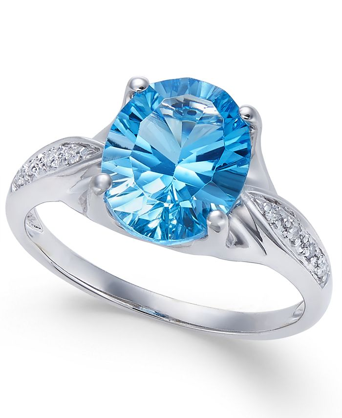Macy's - Blue Topaz (3 ct. t.w.) and Diamond Accent Ring in 14k White Gold