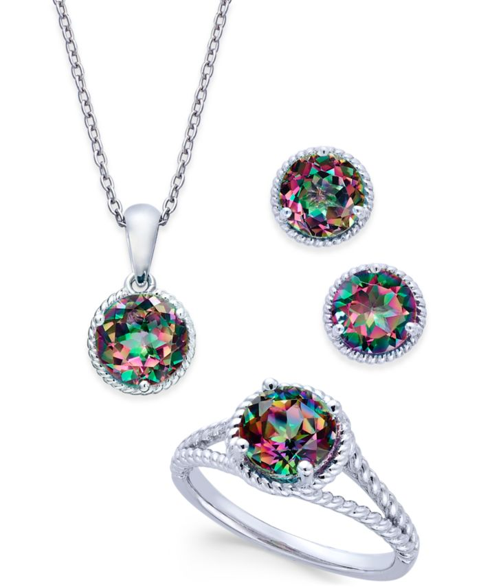 Macy's Mystic Quartz Rope-Style Pendant Necklace, Stud Earrings and Ring Set (4 ct. t.w.) in Sterling Silver & Reviews - Jewelry & Watches - Macy's