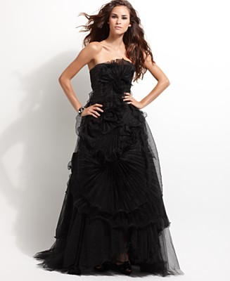 BCBGMAXAZRIA Dress, Strapless Tulle Gown - Dresses - Women's  - Macy's from macys.com