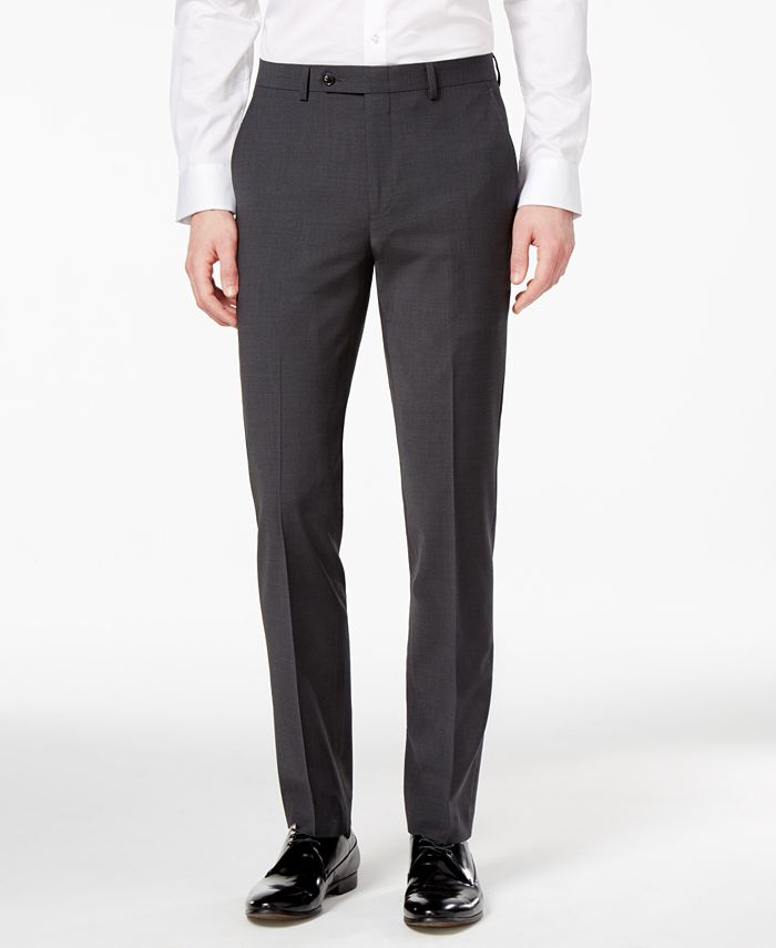 Bar III - Men's Extra-Slim Fit Stretch Wrinkle-Resistant Charcoal Suit Pants