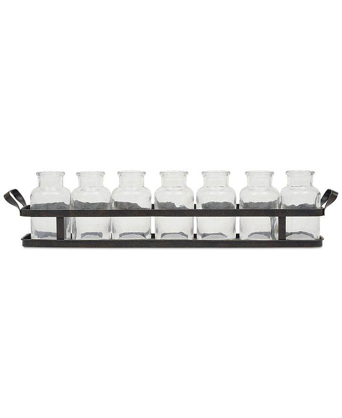 3R Studio - Metal Tray with Set of 8 Glass Bottles