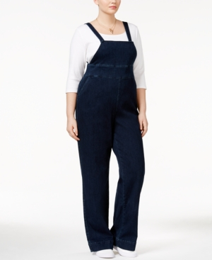 1940s Style Pants & Overalls- Wide Leg, High Waist Melissa McCarthy Seven7 Trendy Plus Size My Girl Wash Overalls $108.00 AT vintagedancer.com