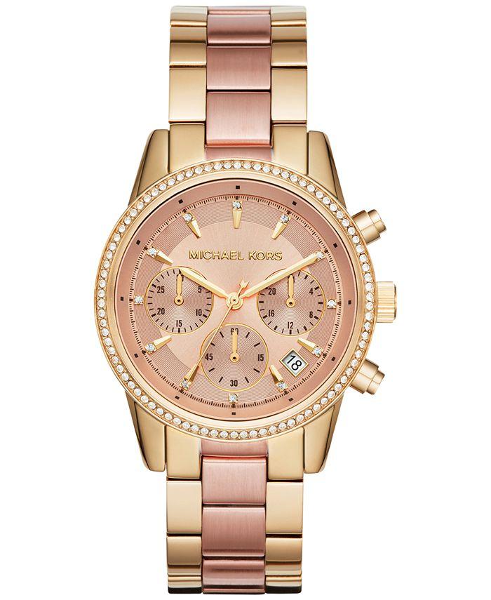 Michael Kors - Women's Chronograph Ritz Two-Tone Stainless Steel Bracelet Watch 37mm MK6475
