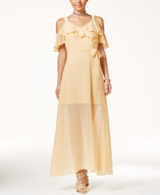Disney Beauty and the Beast Juniors Ruffled Cold-Shoulder Maxi Dress