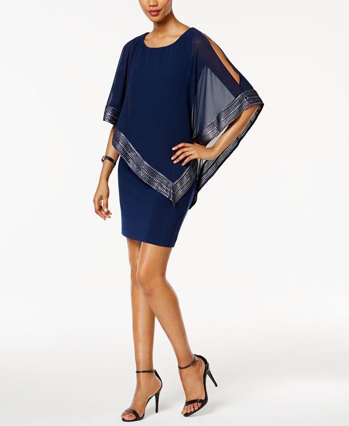 SL Fashions - Metallic-Trim Capelet Sheath Dress