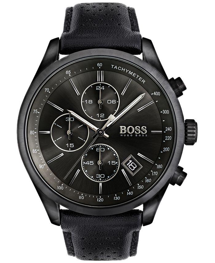 BOSS - Men's Chronograph Grand Prix Black Leather Strap Watch 44mm 1513474
