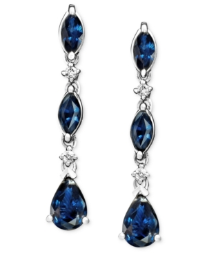 14k White Gold Earrings, Sapphire (1-3/4 ct. t.w.) and Diamond Accent