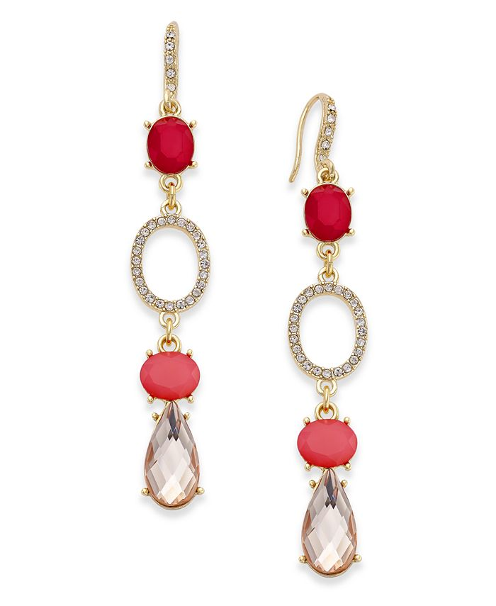 INC International Concepts - Gold-Tone Pink Stone and Pavé Drop Earrings