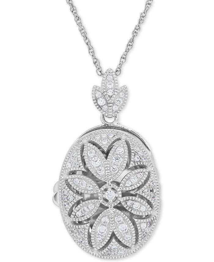 Macy's - Cubic Zirconia Oval Floral Locket Pendant Necklace in Sterling Silver