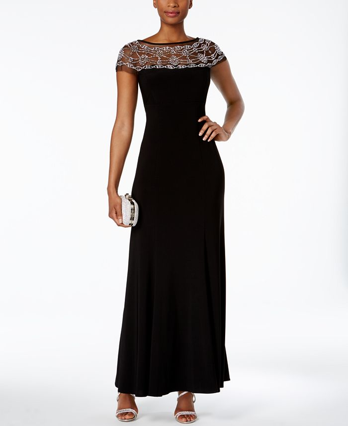 R & M Richards - Beaded-Trim A-Line Gown