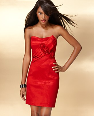 INC International Concepts Dress, Strapless Pleated Sash Mini - Dresses from macys.com