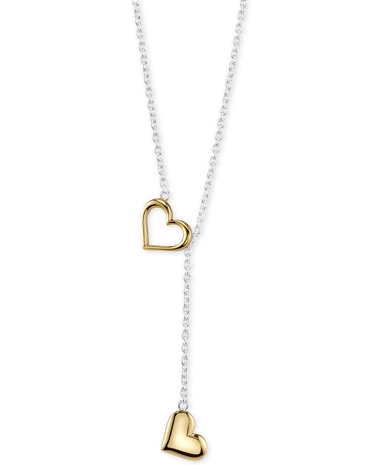 (75% OFF Deal) Two-Tone Heart Lariat Necklace in Sterling Silver and Gold-Plate  $25.00