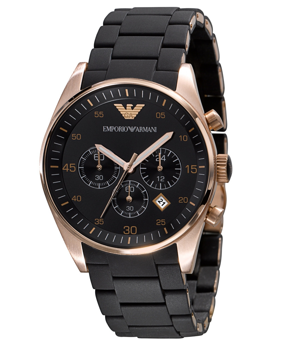 Emporio Armani Watch, Mens Chronograph Black Silicone and Stainless Steel Bracelet AR5905   Watches   Jewelry & Watches