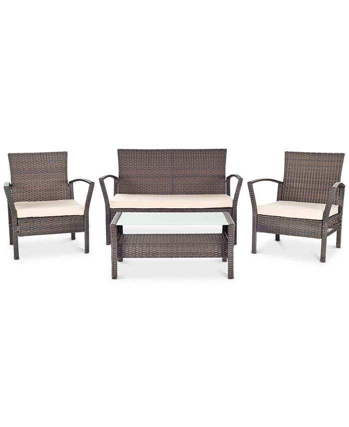 Safavieh - Calann Outdoor 4-Pc. Seating Set (1 Loveseat, 2 Chairs & 1 Coffee Table), Quick Ship