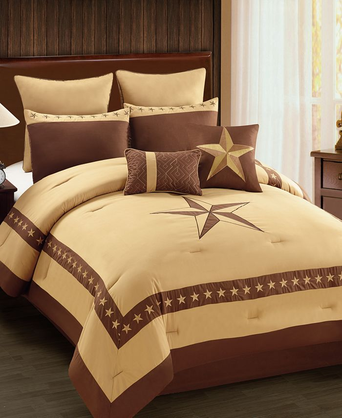Hallmart Collectibles - Lone Star 8-Pc. Embroidered King Comforter Set