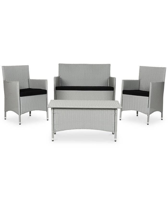 Safavieh - Chrystie Outdoor 4-Pc. Seating Set (1 Loveseat, 2 Chairs & 1 Coffee Table), Quick Ship