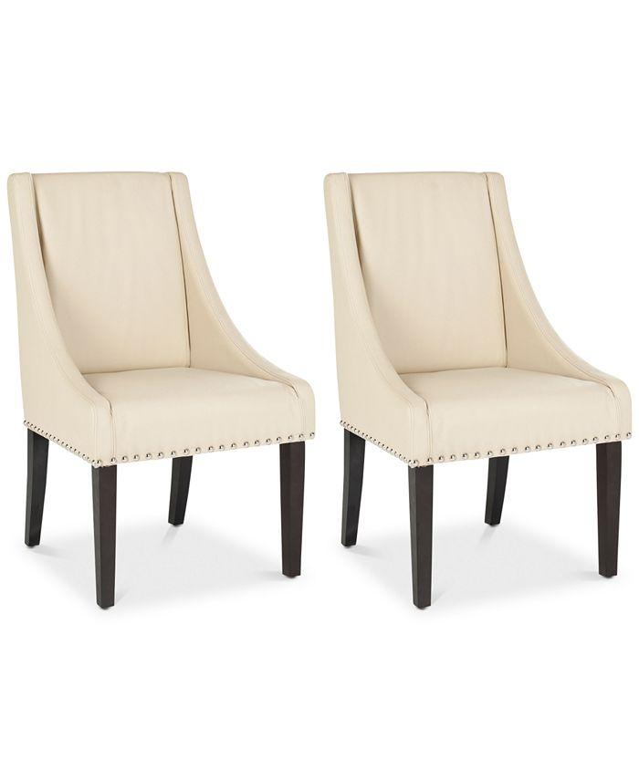 Safavieh - Watnee Set of 2 Nailhead Trim Side Chairs, Quick Ship