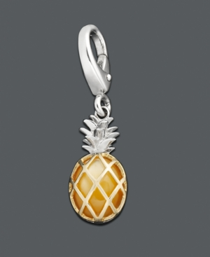 14k Gold and Sterling Silver Charm, Pineapple Charm