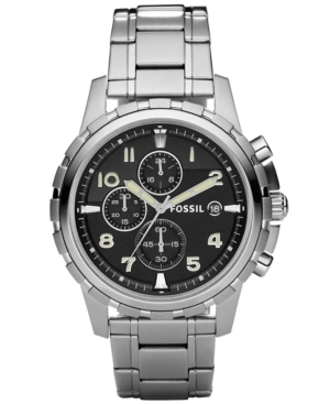 Fossil Watch, Men's Chronograph Dean Stainless Steel Bracelet 45mm FS4542