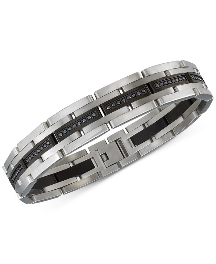 Esquire Men's Jewelry - Diamond Bracelet (1 ct. t.w.) in Stainless Steel and Black IP