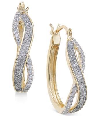 Diamond Glitter Infinity Hoop Earrings (1/6 ct. t.w.) in 18k Gold-Plated Sterling Silver