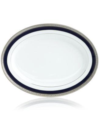 """Noritake """"Crestwood Cobalt Platinum"""" Oval Platter, 14"""""""
