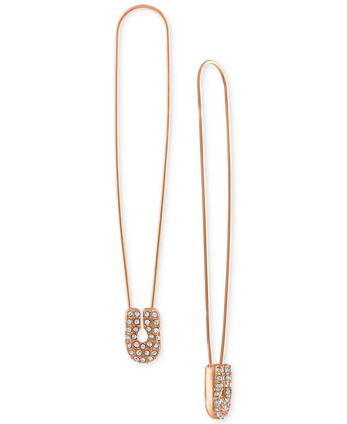 RACHEL Rachel Roy - Rose Gold-Tone Pavé Safety Pin Linear Drop Earrings
