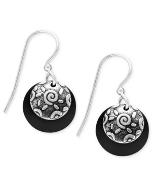 Jody Coyote Sterling Silver Earrings, Black Disc Drop
