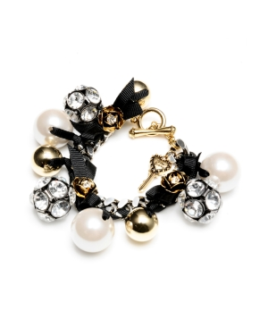 Betsey Johnson Bracelet, Bead and Fireball Charm