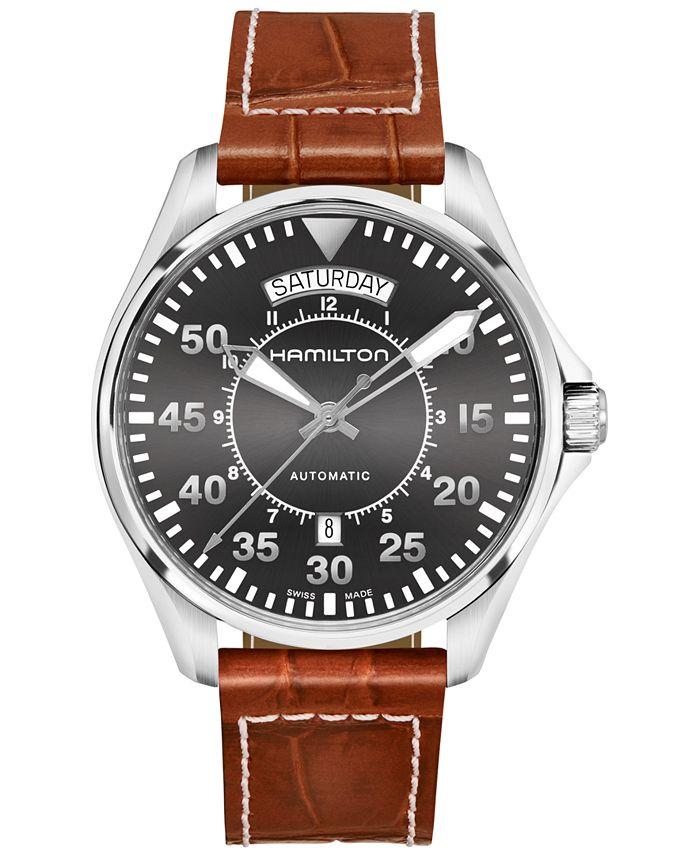 Hamilton - Men's Swiss Automatic Khaki Aviation Croc-Embossed Brown Leather Strap Watch 42mm