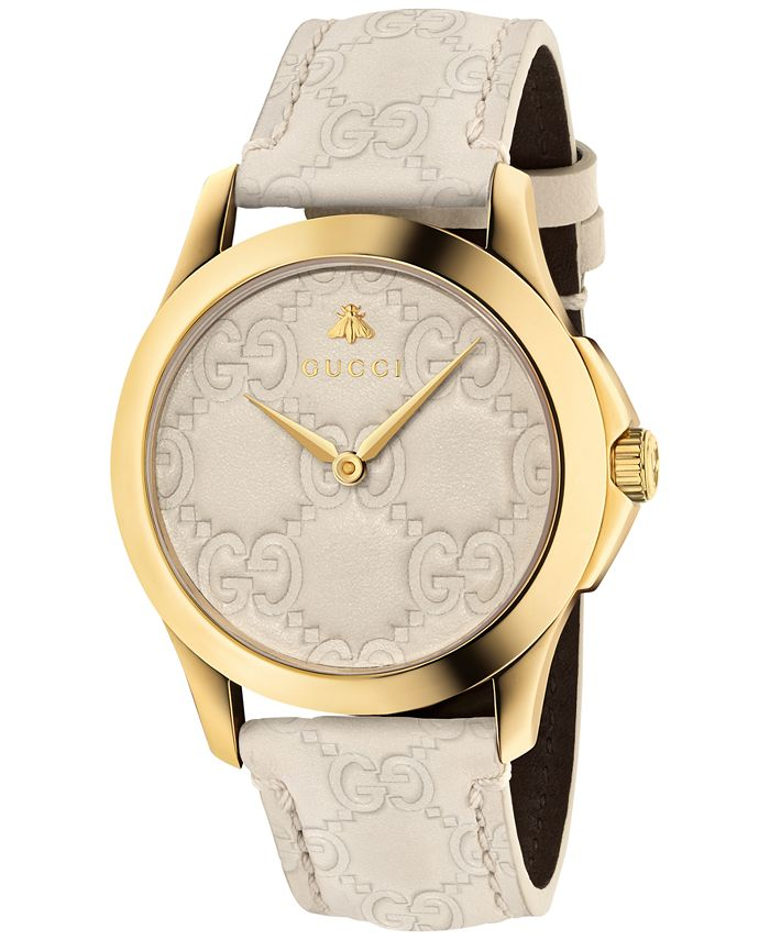 Gucci - Unisex Swiss G-Timeless Mystic White Leather Strap Watch 38mm