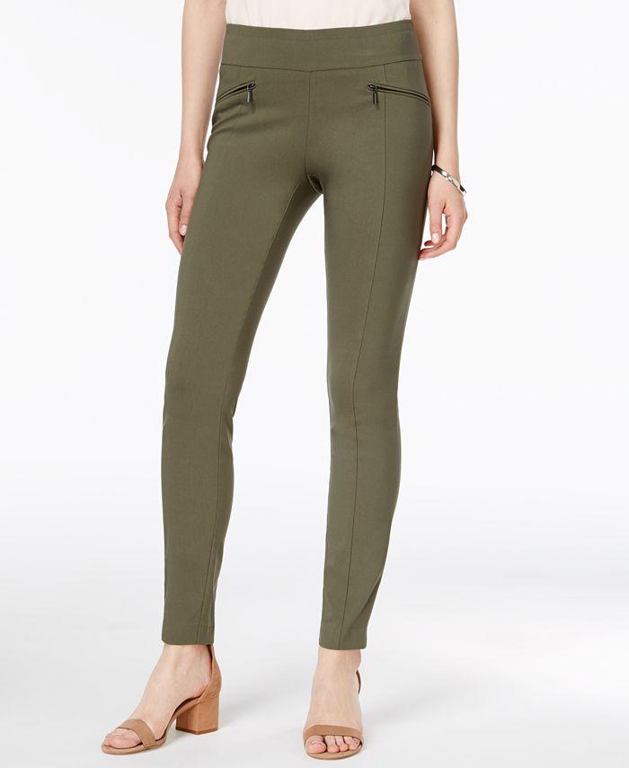 Bar III - Zippered-Pocket Pull-On Pants