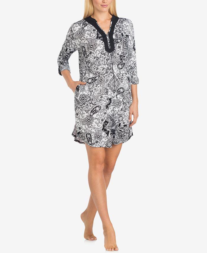 Ellen Tracy - Split-Neck Printed Knit Sleepshirt