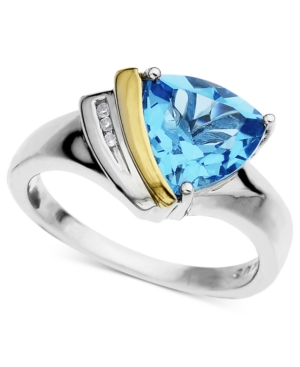 14k Gold and Sterling Silver Ring, Blue Topaz (3 ct. t.w.) and Diamond Accent