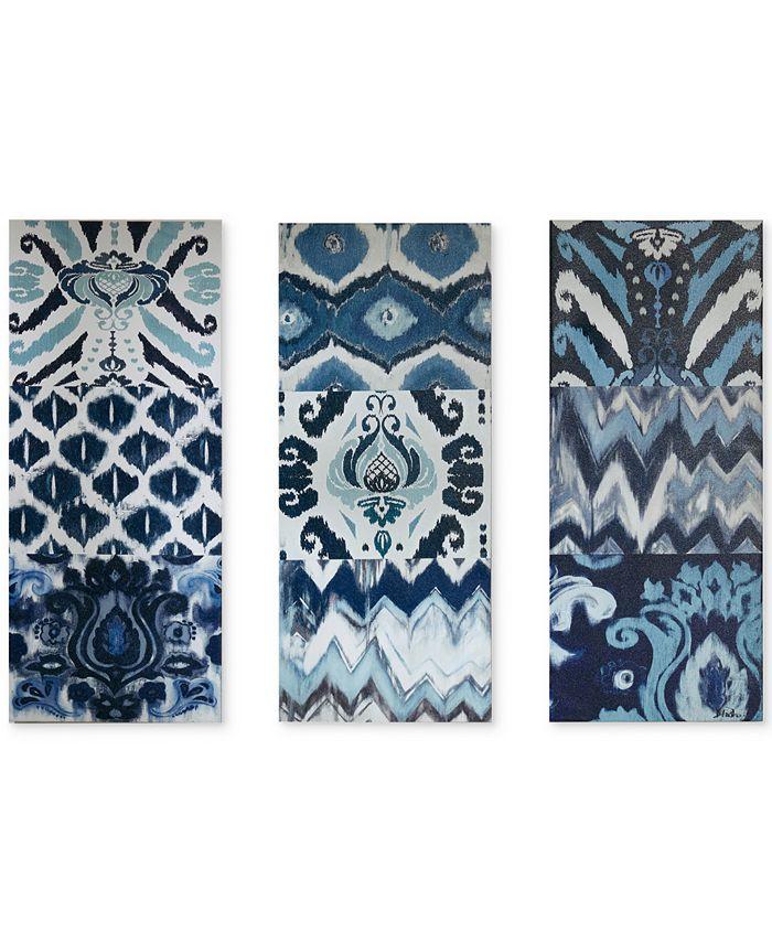 JLA Home - Flourish Ikat 3-Pc. Gel-Coated Canvas Print Set