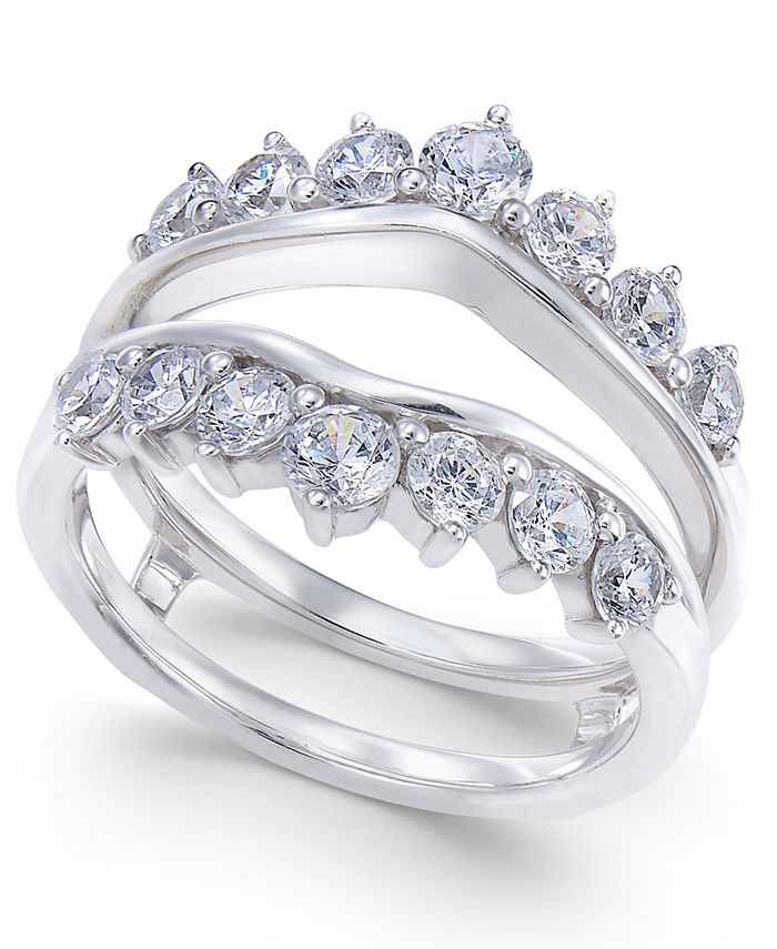 Macy's - Diamond Tiara Solitaire Enhancer Ring Guard (1-3/8 ct. t.w.) in 14k White Gold