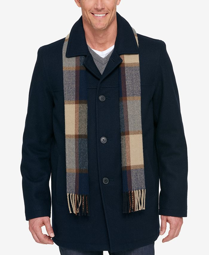 Tommy Hilfiger Melton Wool Walking Coat, Tommy Hilfiger Peacoat With Scarf