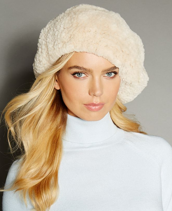 The Fur Vault Knitted Beaver Fur Beret