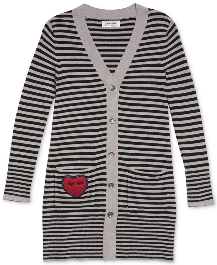 Jessica Simpson - Striped Button-Front Cardigan, Big Girls (7-16)