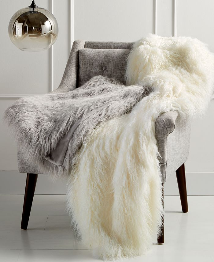 Martha Stewart Collection - Faux Mongolian Fur Throw, Created for Macy's