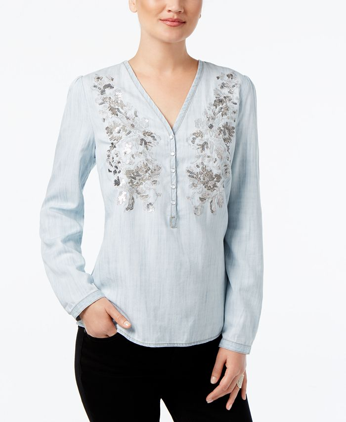 INC International Concepts - Petite Embroidered Blouse