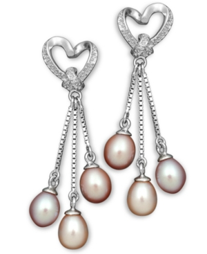 Pearl Earrings, Sterling Silver Multicolor Cultured Freshwater Pearl and Diamond Accent Heart Drop