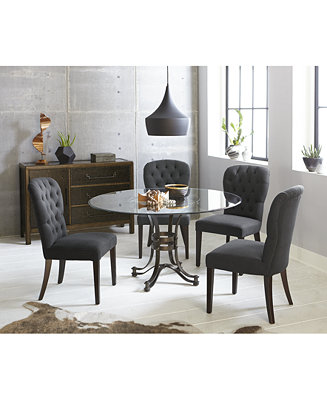 Furniture Caspian Round Metal Dining Furniture 5 Pc Set 54 Table 4 Side Chairs Created For Macy S Reviews Furniture Macy S