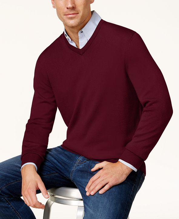 Club Room Men's Solid V-Neck Merino Wool Blend Sweater, Created for Macy's
