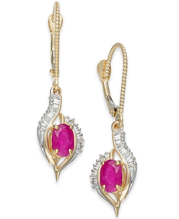 Macy's - Ruby (1-1/5 ct. t.w.) & Diamond (1/3 ct. t.w.) Drop Earrings in 14k Gold