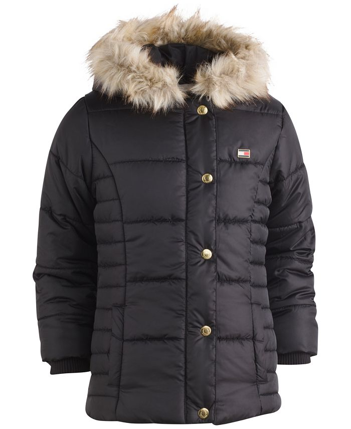 Tommy Hilfiger - Hooded Peacoat Puffer Coat with Faux-Fur Trim, Toddler & Little Girls (2T-6X)