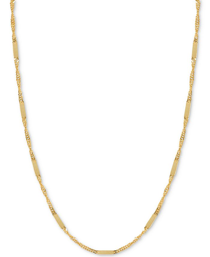 Italian Gold - Flat Bar Singapore Chain Necklace in 14k Gold