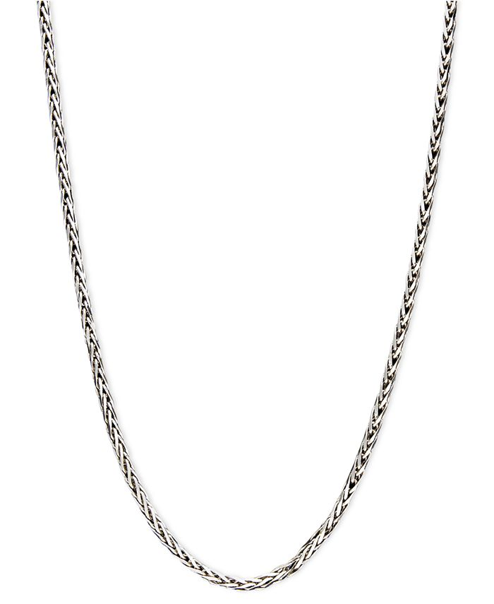 "Macy's - 14k White Gold Necklace, 18"" Diamond Cut Wheat Chain"