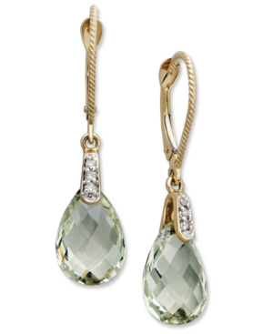 14k Gold Earrings, Green Quartz (5-1/3 ct. t.w.) and Diamond Accent Pear Brio Drop