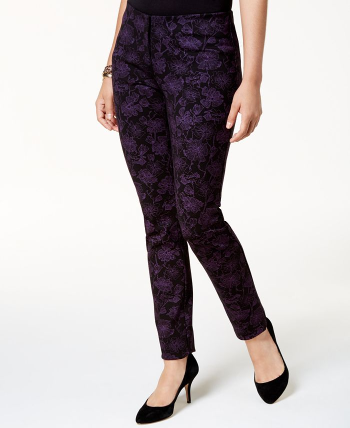 Alfani - Houndstooth-Print Skinny Pants